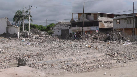 large commercial area leveled by the April devastating earthquake Footage
