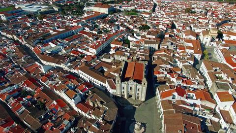 Evora city panoramic aerial view Footage