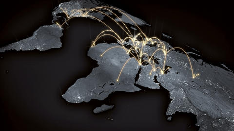 Growing global network across the world map. Internet and business concept. 4K 動畫
