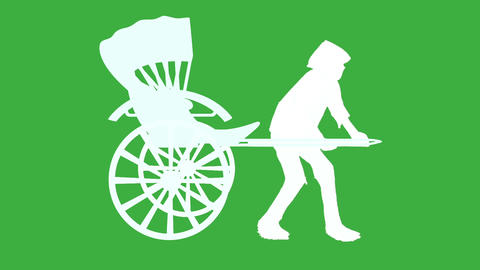 Rickshaw and man(silhouette) CG動画