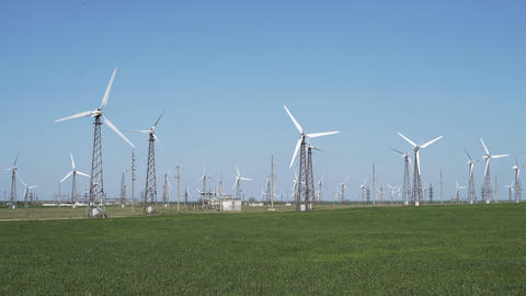Wind Turbines On A Wind Farm Footage