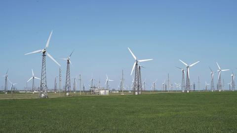 Wind Turbines On A Wind Farm Footage