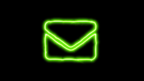 The appearance of the green neon symbol envelope. Flicker, In - Out. Alpha CG動画