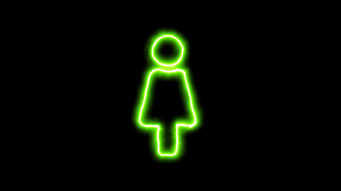 The appearance of the green neon symbol female. Flicker, In - Out. Alpha channel Animation