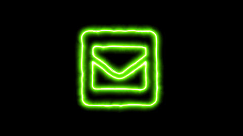 The appearance of the green neon symbol envelope square. Flicker, In - Out. CG動画