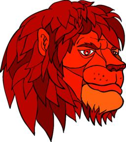 Ruminating Lion Head Cartoon Color Vector