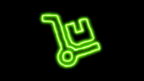 The appearance of the green neon symbol dolly. Flicker, In - Out. Alpha channel Animation