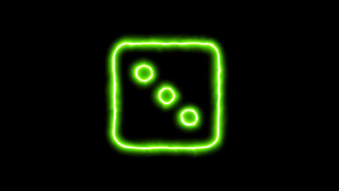 The appearance of the green neon symbol dice three. Flicker, In - Out. Alpha Animation