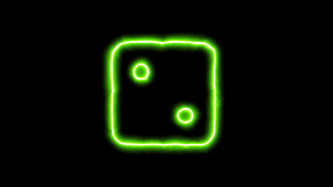 The appearance of the green neon symbol dice two. Flicker, In - Out. Alpha Animation