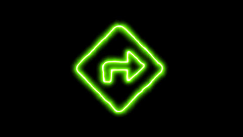 The appearance of the green neon symbol directions. Flicker, In - Out. Alpha Animation