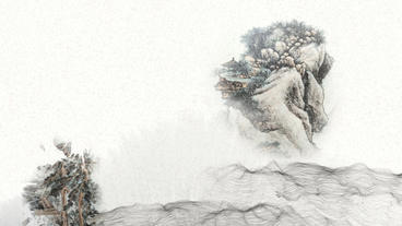 Chinese mountain v1 Sc3 water colour ink splash After Effects Template