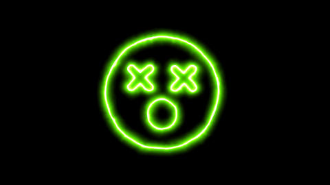 The appearance of the green neon symbol dizzy. Flicker, In - Out. Alpha channel Animation