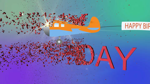 Animation - Word Happy Birthday explode and Plane Flies With Long Banners With Animation