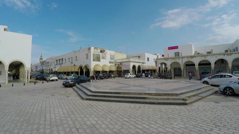 Monastir. Architecture, old houses, streets and neighborhoods. Tunisia. 4K Footage