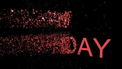 Animation - Word Happy Birthday explode With Optical Flares On Black Background Animation