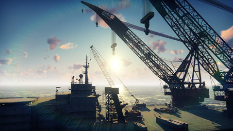 Oil platform, offshore platform, or offshore drilling rig in sea at sunrise Animation