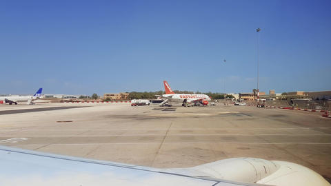 Malta International Airport MLA tarmac view with grounded airplanes Live Action