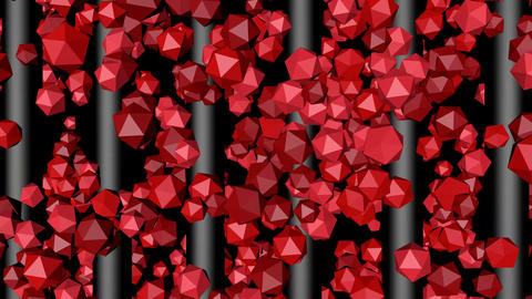 Red Polygons Lifting Along Gray Rods Animation