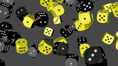 Black and Yellow Dice Collided Animation