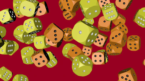 Yellow and Orange Color Dice Collided Animation