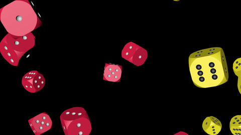 Red and Yellow Color Dice Collided Stock Video Footage