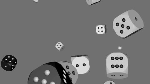 Black and White Color Dice Collided, Stock Animation