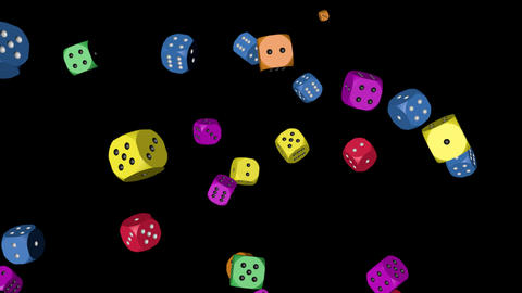 Rainbow Color Dice Falling, Stock Animation