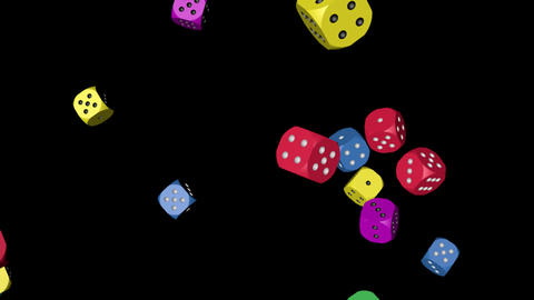 Rainbow Color Dice Falling Animation