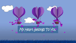 Heart shaped balloon animation with banner message My Heart Belongs To You Animation
