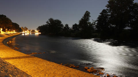 River At Night. Moon Over River, Timelapse Archivo