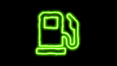 The appearance of the green neon symbol gas pump. Flicker, In - Out. Alpha Animation