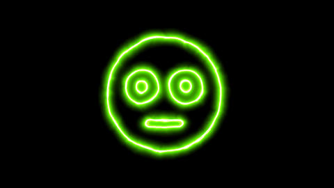 The appearance of the green neon symbol flushed. Flicker, In - Out. Alpha Animation