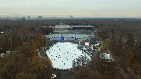 People on the skating rink in Sokolniki 영상물