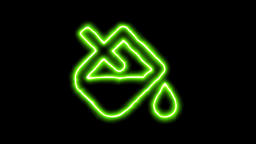 The appearance of the green neon symbol fill drip. Flicker, In - Out. Alpha Animation