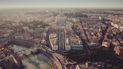 Aerial shot of Vatican City and cityscape of Rome Footage