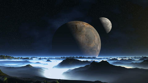 Two Moons over Misty Planet GIF