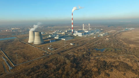Electrical Power Plant near village of Tainiskoye district of Mytishchi Footage