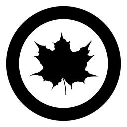 Maple leaf silhouette icon black color illustration in circle round Vector