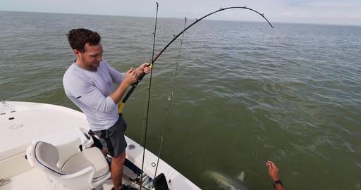 Shark fishing - man sport fishing on boat in Florida Footage