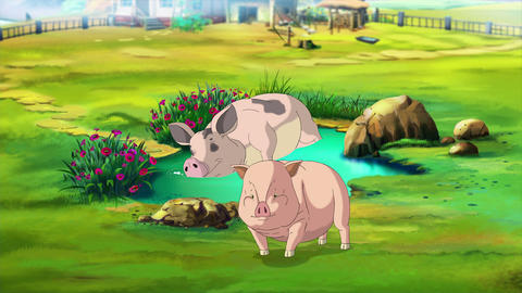 Pink Mother Pig and little Piggy near a Puddle Animation