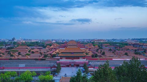 Aerial view of Forbidden city viewed from Jingshan Hill day to night time lapse Live Action
