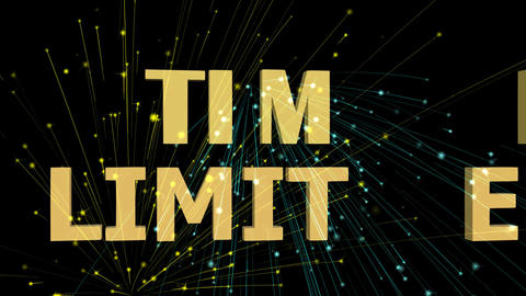 Time limited animated inscription, 3d letters moving on black background with GIF