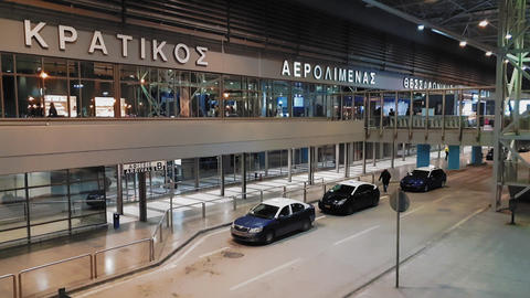 Parked taxis at the entrance of Thessaloniki, Greece SKG airport 영상물