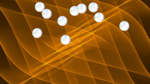 Wavy abstract gold background with falling pearls, luxurious fantasy background Animation