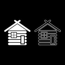 Wooden house Barn with wood Modular log cabins Wood cabin modular homes icon set Vector