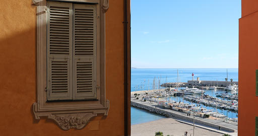 Beautiful Window Decorated Picturesque In The Old Town Of Menton GIF