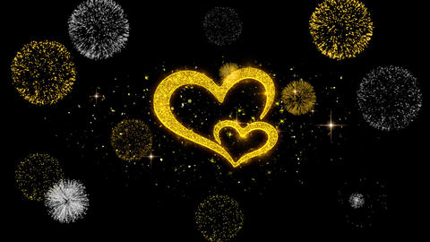 Valentine's day love and hearts Golden Particles with Golden Fireworks Display Footage