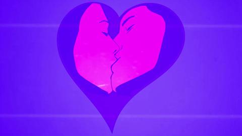 Couple Kissing Analog Tv Stock Video Footage