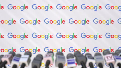 Press conference of GOOGLE, press wall with logo and microphones, conceptual Footage
