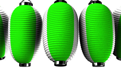 Green and white paper lanterns on white background CG動画